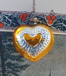 Oude/antieke kerstbal: Lief HARTJE in zilver/oud goud