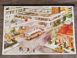 Vintage aquarel schoolplaat 'Ziek zijn' - jaren 70