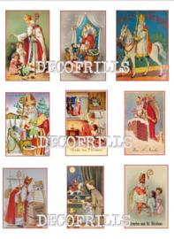 POSTER A4 Formaat met 9 Nostalgische cadeaulabels voor Sinterklaas!