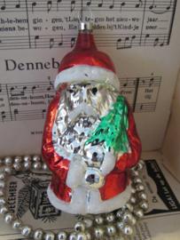 Oude Kerstbal: GROTE kerstman. Hangend. ca. 12 cm. hoog!