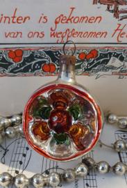Oude/antieke kerstbal: Deukbal in zilver/rood/groen/oud goud