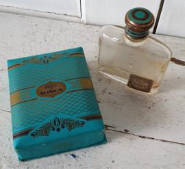 Geschenkverpakking TOSCA 4711 parfum + oud TOSCA flesje. Ca. 1950-1960