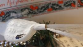Oude/antieke kerstbal: Ooievaar op clip met subtiele deco