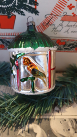 Antieke kerstbal: Prachtig groot vogelhuisje met vogels (papegaaien) etc.