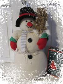 Schattige oude Sneeuwpop van stof. 28 cm. hoog