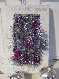 Oude doos met 5 meter Lametta kerstslinger in zilver/purper