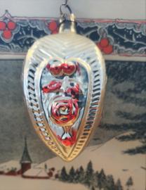 Oud/antiek Kerstbal - kerstornament met roosjes