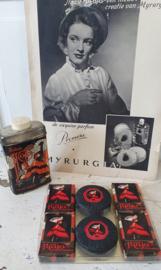 Oude geschenkverpakking MAJA zeepjes + bus talkpoeder + oude advertentie uit 1952