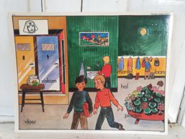 Actueel! HANDJES WASSEN HOOR! Oude Schoolplaat dubbelzijdig. 1950-1960.