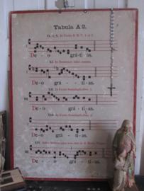 Antieke  Gregoriaanse Zangplaat TABULA A2  - IX. ET X. In Festis B.M.V. 1 et 2. DUBBELZIJDIG!