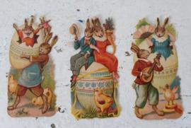 Set van 3 stuks Oude antieke Poesiealbumplaatjes'thema PASEN! Haasjes/eieren/kuikens