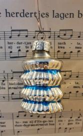 Oude/antieke kerstbal: Lampion in zilver/turquoise. G.D.R.