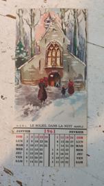 Bijzondere oude kerstkaart uit 1961, met kalendertje!