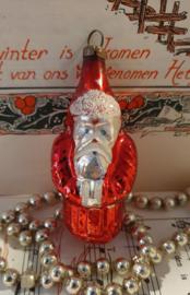 Antieke kerstbal: Kerstman in zilver/rood/wit