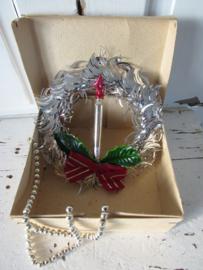 Oude/antieke kerstdecoratie met lametta en kaars van glas. In doosje OVP
