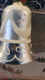 Oude/antieke kerstbal: Klokje met klepel en mooie deco!