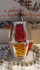 Oude/antieke kerstbal: Lampion in zilver/rood/goud