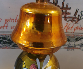 Antiek ornament GROTE SCHEMERLAMP. Prachtige oude kleuren. 10 cm. hoog!
