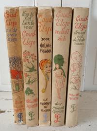 1940-1950: Set van 5 oude GOUD-ELSJE boeken. door Max. De Lange-Praamsma