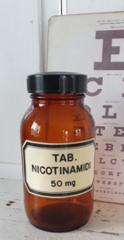 Oude tablettenpot met bakelieten dop TAB. NICOTINAMIDI