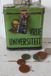 Oud collectebusje 'VRIJE UNIVERSITEIT', Medische Faculteit. 1920 - 1950