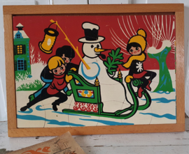 Superleuke oude houten puzzel met winters( kerst)tafereel,