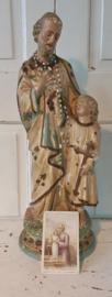 Beeldschoon ... Oud sleets beeld St. Jozef en Jezus. Gips. 46 cm. hoog. + Gratis antiek bidprentje 1889
