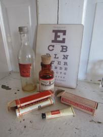 4-delige set oude/antieke Medische flesjes en verpakkingen