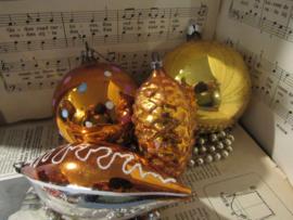 Set van 4 stuks prachtige oude/antieke kerstballen