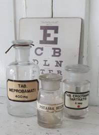 Set van 3 oude/antieke Apothekerspotjes. Transparant