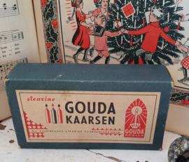 Zeldzaam! Oude volle doos GOUDA kaarsen uit ca. 1930