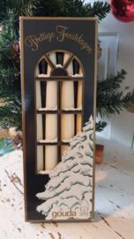 Decoratieve Vintage doos met 4 GOUDA gotische kaarsen