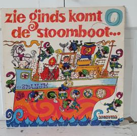 Nostalgische Sintdecoratie! LP: ZIE GINDS KOMT DE STOOMBOOT ... Kinderkoor 'De Hommeltjes'. 1973