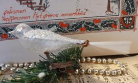 Oude/antieke kerstbal: Vogel transparant met reliëf en zilverglitter