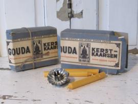 Antieke, volle verpakking GOUDA Kerstkaarsen. ca. 1920-1940