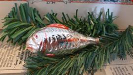 oude/antieke kerstbal: Vis. Zilver met rode deco. Czechoslovakia