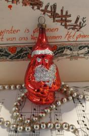 Oude/antieke kerstbal: Kerstman in rood met zilverglitter