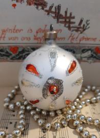 Oude/antieke kerstbal: Bijzondere bal met leonisch draad en 'kraal' van glas. Oostenrijk