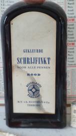 Oude/antieke GROTE fles KLUTMAN Gekleurde schrijfinkt. Ongebruikt. Met schenktuitjes