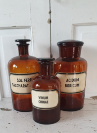 Set van 3 prachtige Apothekersflessen met originele etiketten - XX