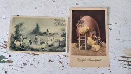 Set van 2 mooie aparte oude/antieke Paaskaarten (oude spelling)