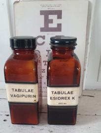 Set van 2 stuks oude Tablettenpotten. TABULEA VAGIPURIN /ESIDREX K