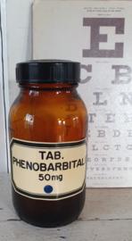 Oude tablettenpot met bakelieten dop. TAB. PHENOBARBITALI