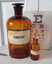 Antieke Apothekersfles TONICUM + antiek Tinctuurflesje met glazen pipet