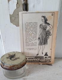 Oud TANA schoensmeerpotje + bijbehorende oude advertentie