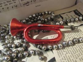 Oude/antieke kerstbal Hoorn/trompet. vrij groot