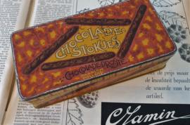 Antiek blik DROSTE Chocoladestokjes. 1910-1925