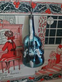 Oude/antieke kerstbal: Viool in oud Turquoiseblauw. Czechoslovakia