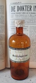 Antieke Apothekersfles met prachtig etiket SALICYLSPIRITUS