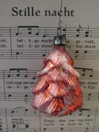 Antieke kerstbal: Kerstboom - Dennenboom. Besuikerd